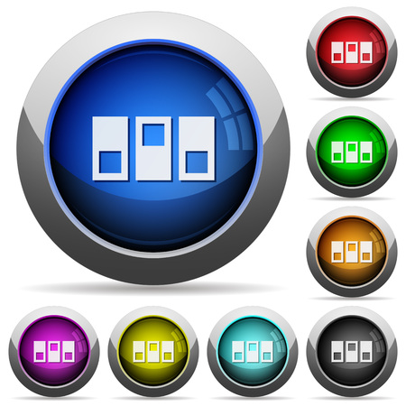 Switchboard icons in round glossy buttons with steel frames