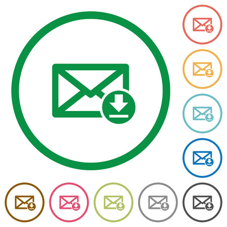 Receive mail flat color icons in round outlines