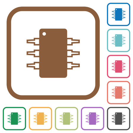 Integrated circuit simple icons in color rounded square frames on white background