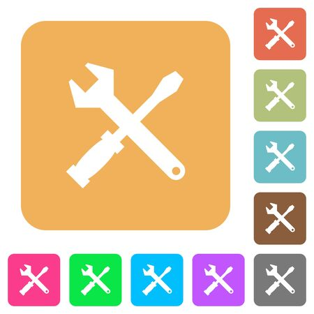 Tool kit icons on rounded square vivid color backgrounds.