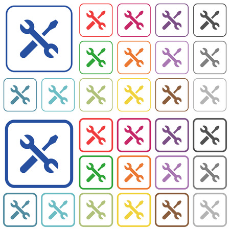 Maintenance color flat icons in rounded square frames. Thin and thick versions included.