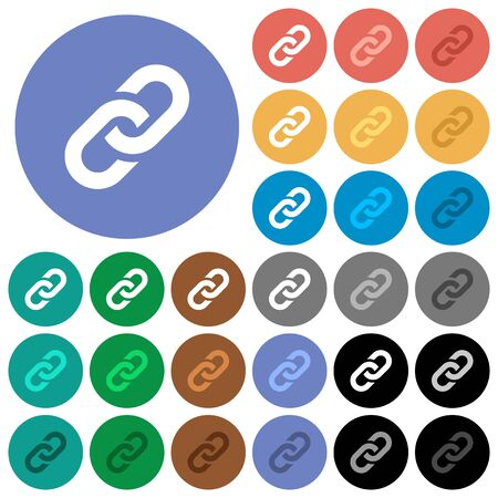 Link multi colored flat icons on round backgrounds. Included white, light and dark icon variations for hover and active status effects, and bonus shades on black backgounds.