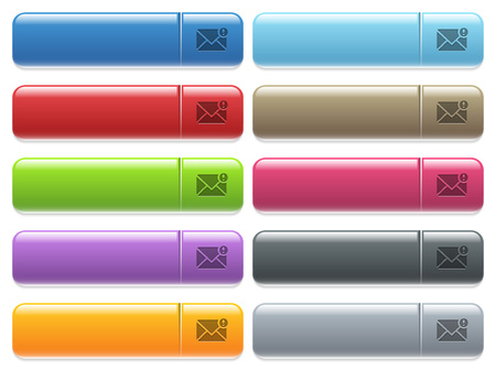 Important message engraved style icons on long, rectangular, glossy color menu buttons. Available copyspaces for menu captions.