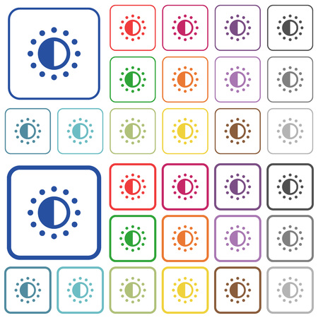 Saturation control color flat icons in rounded square frames. Thin and thick versions included.