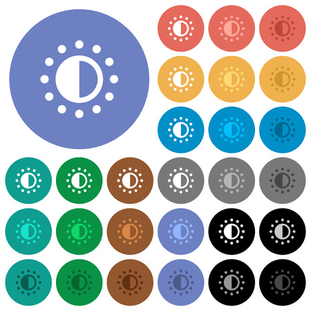 Saturation control multi colored flat icons on round backgrounds. Included white, light and dark icon variations for hover and active status effects, and bonus shades on black backgounds.