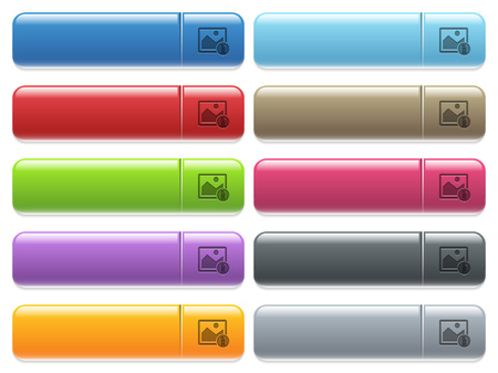 Image properties engraved style icons on long, rectangular, glossy color menu buttons. Available copyspaces for menu captions.