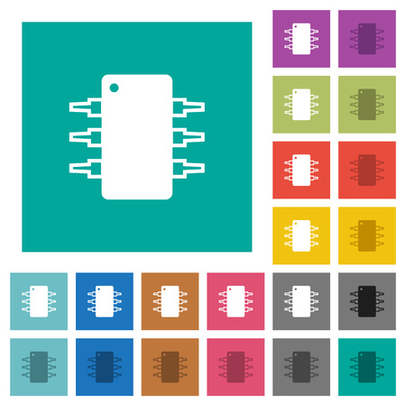 Integrated circuit multi colored flat icons on plain square backgrounds. Included white and darker icon variations for hover or active effects.