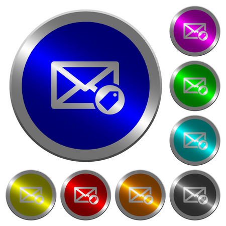 Tagging mail icons on round luminous coin-like color steel buttons