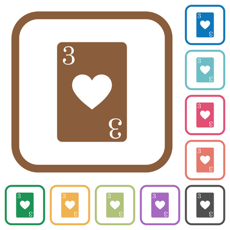 Three of hearts card simple icons in color rounded square frames on white background