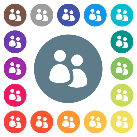 User group flat white icons on round color backgrounds. 17 background color variations are included.
