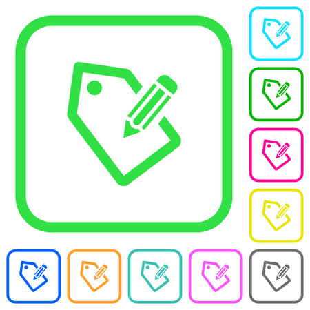 Tagging with pencil vivid colored flat icons in curved borders on white background