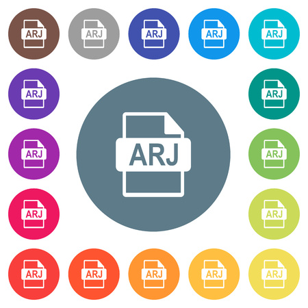ARJ file format flat white icons on round color backgrounds. 17 background color variations are included.