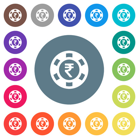 Indian Rupee casino chip flat white icons on round color backgrounds. Different background color variations are included.