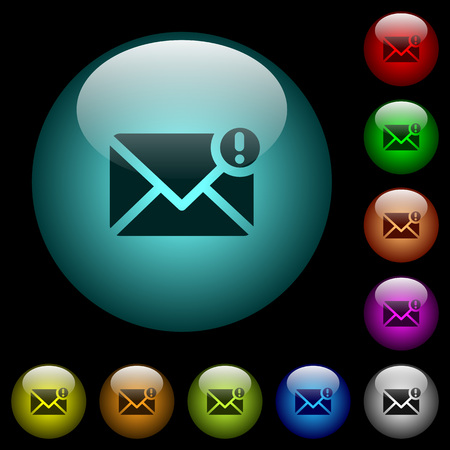 Important message icons in color illuminated spherical glass buttons on black background. Can be used to black or dark templates