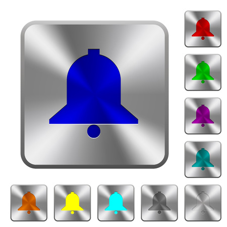 Single bell engraved icons on rounded square glossy steel buttons