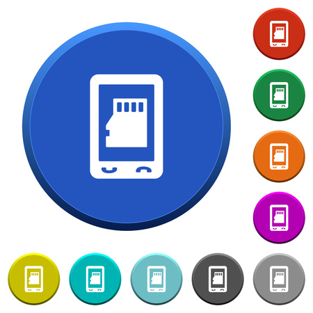 Mobile memory card round color beveled buttons with smooth surfaces and flat white icons.