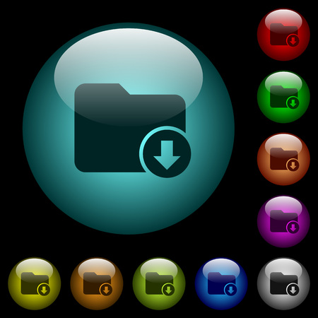 Move down directory icons in color illuminated spherical glass buttons on black background. Can be used to black or dark templates