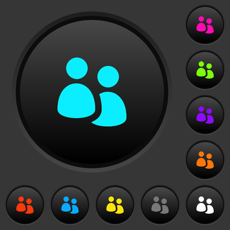 User group dark push buttons with vivid color icons on black background.