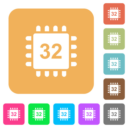 Microprocessor 32 bit architecture flat icons on rounded square vivid color backgrounds.