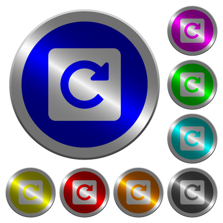 Rotate right icons on round luminous coin-like color steel buttons