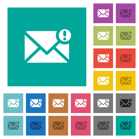 Important message multi colored flat icons on plain square backgrounds. Included white and darker icon variations for hover or active effects.