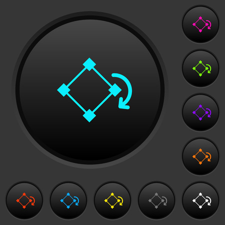 Rotate element dark push buttons with vivid color icons on dark grey background