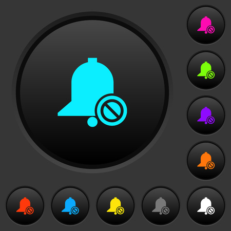 Disable reminder dark push buttons with vivid color icons on dark grey background