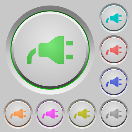 Power plug color icons on sunk push buttons