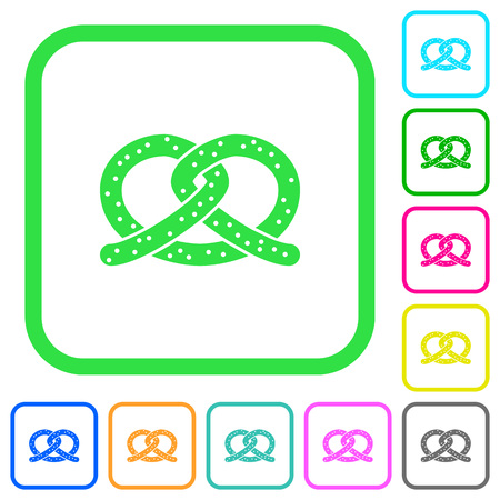 Salted pretzel vivid colored flat icons in curved borders on white background