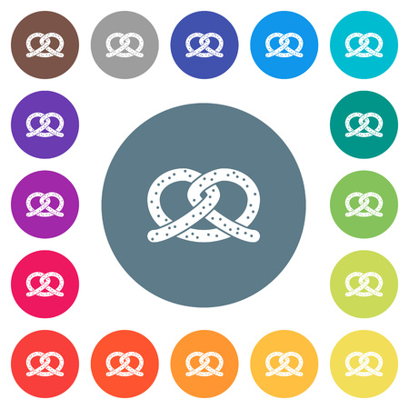 Salted pretzel flat white icons on round color backgrounds. 17 background color variations are included.