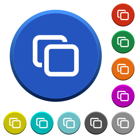 Tabs round color beveled buttons with smooth surfaces and flat white icons