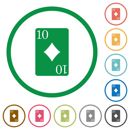 Ten of diamonds card flat color icons in round outlines on white background