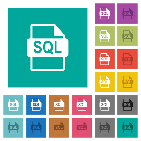 SQL file format multi colored flat icons on plain square backgrounds. Included white and darker icon variations for hover or active effects.