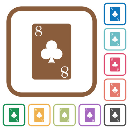 Eight of clubs card simple icons in color rounded square frames on white background