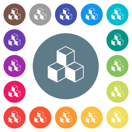 Cubes flat white icons on round color backgrounds. 17 background color variations are included.