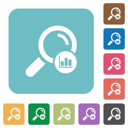 Illustration pour Search statistics white flat icons on color rounded square backgrounds - image libre de droit