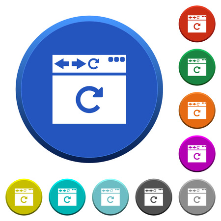 Browser reload round color beveled buttons with smooth surfaces and flat white icons