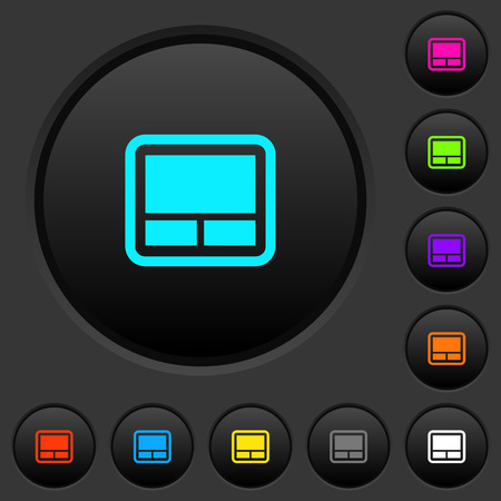 Laptop touchpad dark push buttons with vivid color icons on dark grey background