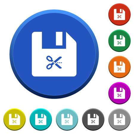 Cut file round color beveled buttons with smooth surfaces and flat white icons