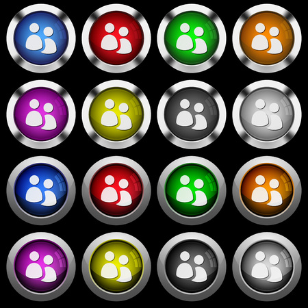 User group white icons in round glossy buttons with steel frames on black background. The buttons are in two different styles and eight colors.