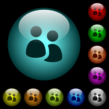 User group icons in color illuminated spherical glass buttons on black background. Can be used to black or dark templates