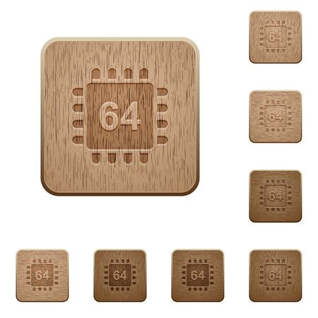 Microprocessor 64 bit architecture on rounded square carved wooden button styles
