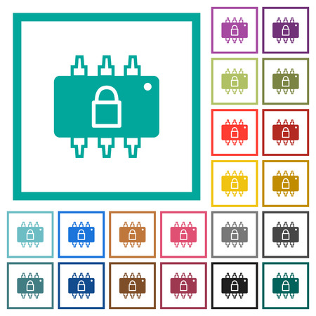 Hardware locked flat color icons with quadrant frames on white background