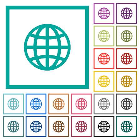 Globe flat color icons with quadrant frames on white background