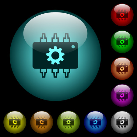 Hardware settings icons in color illuminated spherical glass buttons on black background. Can be used to black or dark templates