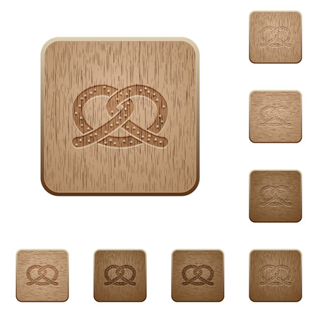 Salted pretzel on rounded square carved wooden button styles