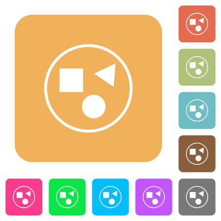 Grouping elements flat icons on rounded square vivid color backgrounds.