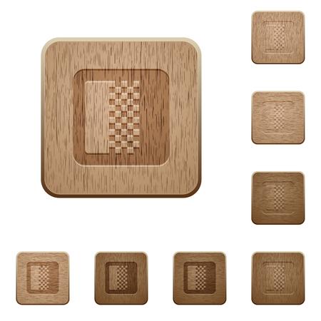 Illustration pour Color gradient on rounded square carved wooden button styles - image libre de droit