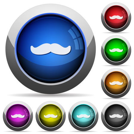 Illustration pour Mustache icons in round glossy buttons with steel frames - image libre de droit