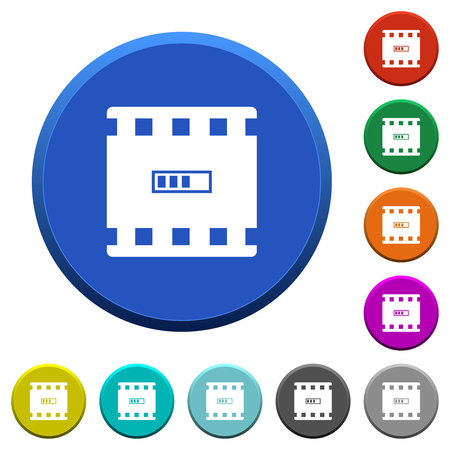 Movie processing round color beveled buttons with smooth surfaces and flat white icons
